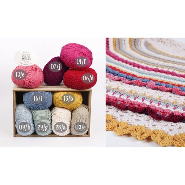 Garnkit til DROPS ALONG - hæklet sjal - Cotton Merino